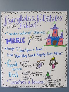 Fairy tales, Folktales, and Fables anchor chart