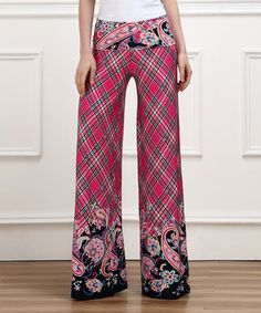 Another great find on #zulily! Fuchsia Plaid Paisley High-Waist Palazzo Pants by Reborn Collection #zulilyfinds