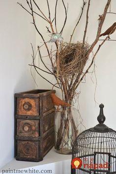 29 super Ideas for bird nest painting branches Country Decor, Rustic Decor, Farmhouse Decor, Bird Nest Craft, Bird Nests, Branch Decor, Bird Theme, Bird Cages, Bedroom Themes