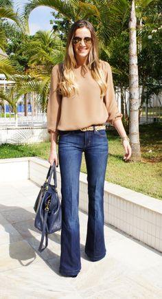 tan blouse, leopard belt, flare jeans