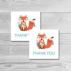 Tribal Woodland Fox Animal Baby Shower Thank You Tags Instant Download Printable