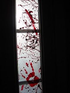 Holidays ❀⊱ℍalloween Decorations⊰❀ Lay wax paper out, preferably out on the lawn. Splatter the red paint with your paint brush all over the wax paper and let it dry. Add hand prints. Trim to fit your windows.