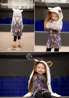 DIY Bear Scarf Tutorial - A @livingdiystyle1 Hoodie Cowl Pattern Modification | DIY Overall mash-up @willowandcoClover Shorts and @TheMouseHouseSydney Pinafore