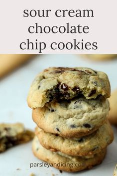 This easy sour cream chocolate chip cookie recipe makes soft, chewy melt in your mouth treats! No chilling required and they're ready in about 30 minutes! Sour Cream Desserts, Sour Cream Sugar Cookies, Just Desserts, Delicious Desserts, Recipes Using Sour Cream, Choclate Chip Cookies, Cookie Recipes, Dessert Recipes, Food Dishes
