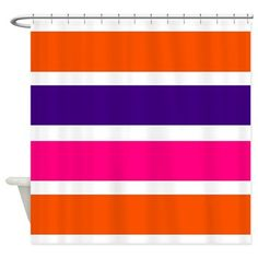 Neon orange, deep purple, hot pink and white horizontal stripes shower curtain #hotpink #bathroomaccessories