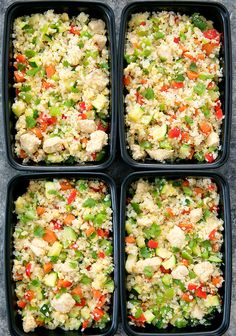 Chicken Cauliflower Fried Rice Meal Prep This fried rice dish is made with cauliflower instead of rice. It is an easy, flavorful, healthy and low carb meal that can be made ahead of time for your weekly meal prep. Lunch Meal Prep, Healthy Meal Prep, Healthy Eating, Rice Recipes, Paleo Recipes, Low Carb Recipes, Paleo Food, Healthy Food, Chicken Cauliflower