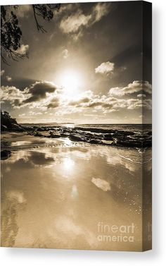 Reflective Coastline Canvas Print featuring the photo Reflection of a passing day by Jorgo Photography - Wall Art Gallery