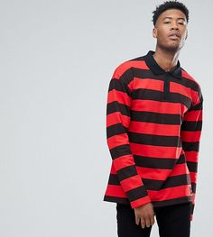 Sixth June TALL Oversized Rugby Polo Shirt In Black With Red Stripes -