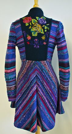 Embroidered Coat with bouclé yarn | IVKO Store - back view