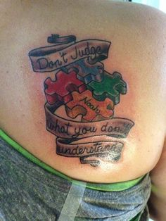 """Via Ink4Autism """"Kari L Ink4Autism """"I got this tattoo done 2 weeks ago!!! For my everything,my world, my son Noah!"""""""