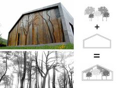 Casa Cedeira: Spanish Prefab Home Sprouts a Lush Forest Motif on its Walls Cheap Prefab Homes, Prefab Modular Homes, Prefab Cabins, Prefab Houses, Green Architecture, Architecture Drawings, Beautiful Architecture, Architecture Design, Landscape Elements