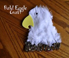Bald Eagle Craft with Feathers. Prefect summer camp craft! #diywithfeathers #craftingwithfeathers #kidscampfeatherideas #feathers #thefeatherplace Shop  Feathers: www.featherplace.com/kids-crafts-projects/  Found on iheartcraftythings.blogspot.com