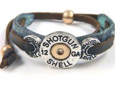 Cowgirl+12+Gauge+Shot+Gun+Shell+Leather+on+Patina+Tie+Bracelet