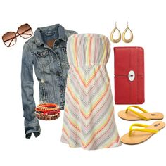 sundress and flip flops, created by cheesemyhead on Polyvore