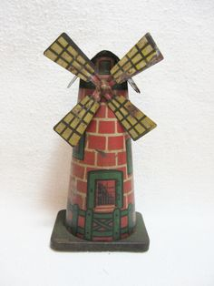 Early tin Litho toy windmill