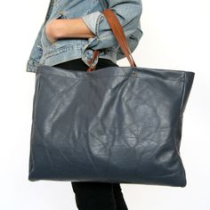 Navy Extra Large Tote Recycled Leather By Mittenmaker