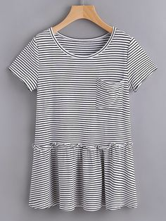 Shop Striped Pocket Front Ruffle Hem Tee online. SheIn offers Striped Pocket Front Ruffle Hem Tee & more to fit your fashionable needs.