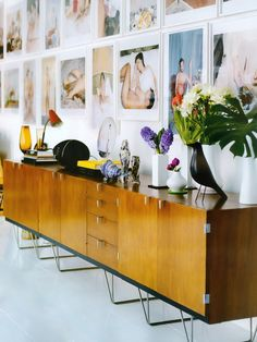 sideboard, frames, beautiful items