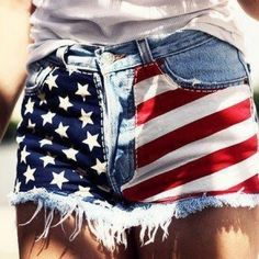 American flag shorts, all you need to fabric and then you sew it on the shorts.
