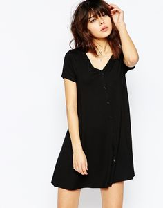 ASOS+Button+Through+Swing+Dress+With+Short+Sleeves