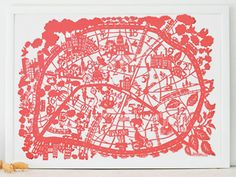 This print is based on an original Famille Summerbelle hand paper cut of Paris. It shows all of the arrondissements and attractions of Paris, as well as some of the quirky side of Parisian life.  #mappamundi