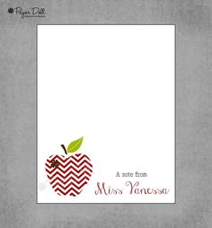 Chevron Apple - Red and Brown - Personalized Custom Notepads - Teacher Notepads