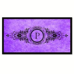 Alphabet Letter P Purple Canvas Print, Black Custom Frame