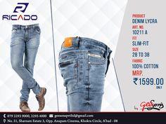 Ricado #Jeans  Product: Denim Lycra Fit: Slim-Fit  Size: 28 To 38 Fabric: 100% Cotton  #DenimLycra #Ricado #Cotton #SlimFit #SlimFitDanim