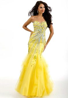Yellow Mermaid Gown with Beading and Sequins