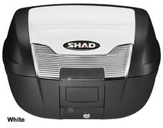 """Shad SH-40 motorcycle top case in white. Designed to attach to most flat luggage racks. Its dimensions are: 16.7"""" L x 19.3"""" W x 11.6"""" H and has a 40 liter capacity. Your price is $188.95. With Free Shipping."""