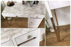 Schreibtisch desk Micke Ikea hack marble Marmor mit gold