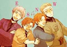 I love how Romano's like 'no not today, fratello, make that potato guy stop his brother' and then Germany is just giving Italy a hard stare while he hugs him. Then Prussia is just like ' heyyyyy'