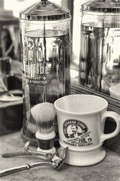 The Classic Barber Shop. Barbacide & a shaving mug.