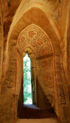 Medieval church, (detail of windwo with fresco) VELEMÉR, HUNGARY  photoblog.com/pimpi