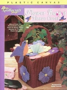 FLOWER BASKET TISSUE BOX COVER by ROBIN PETRINA 1/4