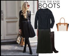 Over the Knee Boots with pleated black skirt