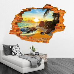 Find More Wall Stickers Information about Hot! 1pc Beach Sunshine 3D Three dimensional Wall Stickers Decorative Collages Removable Home Decorative Sticker 2000WS,High Quality sticker banner,China sticker wheel Suppliers, Cheap stickers rose from NAAN GUO Store on Aliexpress.com