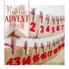 Burlap Advent Calendar Bags by Mommy Makes Things