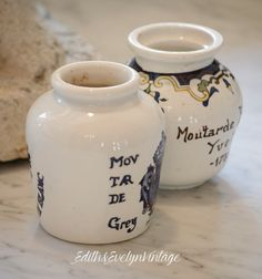 Vintage French Mustard Pots Crock Moutarde Set by edithandevelyn