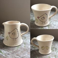 Chicken and chicks jug and mugs