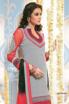 This party wears designer black, white and maroon Salwar suit is beautified with print and Resham embroidery work on neck, sleeves and border part and semi stitched fabric.
