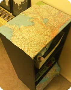 simple, cheap bookshelf with decoupaged map