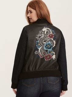 560c1c94dbf Mixed Fabric Embroidered Bomber Jacket