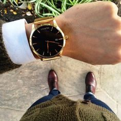 Style done right with a gold watch.