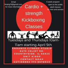 Tuesdays & Thursday's starting  April 5th 10am! Cardio + strength kickboxing  classes return to mornings at enhance fitness studio. Please private message  Noah Gutierrez  at Noahg76@gmail.com or call 773 9578040 for more information. Thanks    #grouptraining #cardiokickboxing #strengthtraining #cardio #enhancefitnessstudio #countrysideillinois