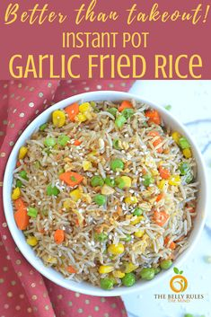 """We call it """"take-in."""" Master the art of making your favorite classic take-out meals at home starting with this Vegetable Fried Rice made in your trusty INSTANT POT Vegetable Fried Rice, Fried Vegetables, Cooking Jasmine Rice, Vegetarian Recipes, Healthy Recipes, Healthy Meals, Rice Dishes, Pressure Cooker Recipes, Instant Pot"""