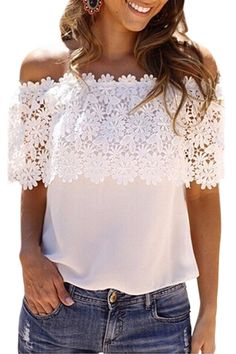 2017 Plus Size Blusas Summer Style Women Sexy Tops Casual Off Shoulder Blouse Chiffon Lace Floral Blouse Casual Tops Chiffon Shirt, Chiffon Tops, Floral Chiffon, White Chiffon, Floral Blouse, Floral Lace, Floral Sleeve, Linen Blouse, Silk Chiffon