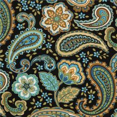 black flower fabric with paisley by Timeless Treasures 1