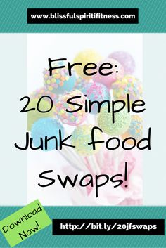 I spent YEARS trying to ignore my junk food cravings.  I would tell myself no…I'm not going to eat anymore ice cream or any more pizza then I would see it and BAM…I was eating it :)  And…not only was I eating it…I was eating a TON of it.  Then I finally realized the key to NOT eating the junk food, was to have a substitution ready to go so I would NOT binge eat the ice cream.  I am giving away my FREE Cheat sheet of 20 Simple Swaps for your WORST junk food cravings :)