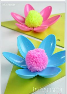 Plastic spoon flowers.